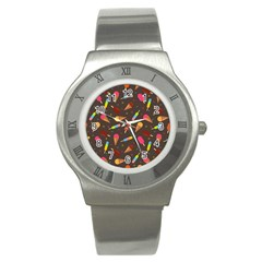 Ice Cream Pattern Seamless Stainless Steel Watch
