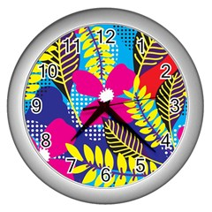 Design Decoration Decor Floral Pattern Wall Clock (silver)