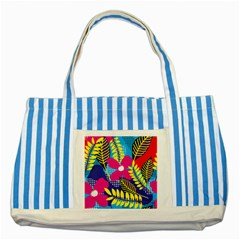 Design Decoration Decor Floral Pattern Striped Blue Tote Bag by Simbadda