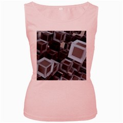 Cube Fantasy Square Shape Women s Pink Tank Top