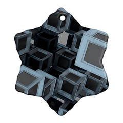 Cube Fantasy Square Shape Snowflake Ornament (two Sides)