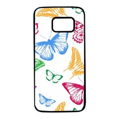 Butterfly Butterflies Vintage Samsung Galaxy S7 Black Seamless Case
