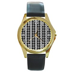 Black And White Texture Round Gold Metal Watch by Simbadda