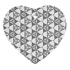 Black And White Pattern Heart Ornament (two Sides)