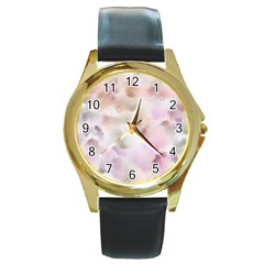 Watercolor Seamless Texture Round Gold Metal Watch