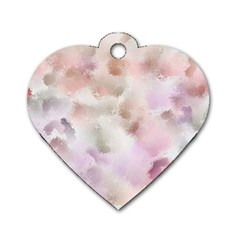 Watercolor Seamless Texture Dog Tag Heart (two Sides)