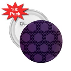 Hexagon Grid Geometric Hexagonal 2 25  Buttons (100 Pack)