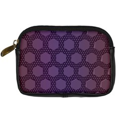 Hexagon Grid Geometric Hexagonal Digital Camera Leather Case by Simbadda