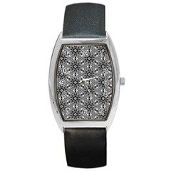 Black And White Pattern Barrel Style Metal Watch