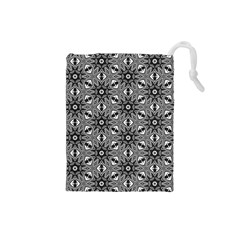 Black And White Pattern Drawstring Pouch (small)