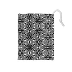 Black And White Pattern Drawstring Pouch (medium)