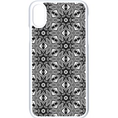 Black And White Pattern Apple Iphone X Seamless Case (white) by Simbadda