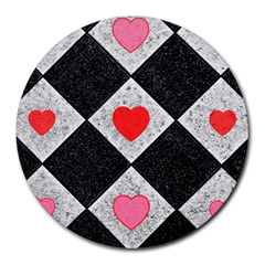 Diamonds Hearts Mosaic Pattern Round Mousepads