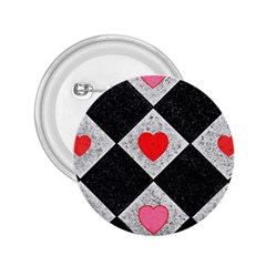Diamonds Hearts Mosaic Pattern 2 25  Buttons by Simbadda