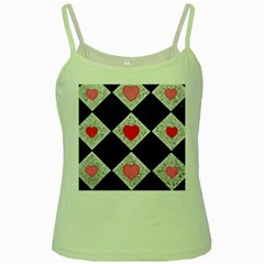 Diamonds Hearts Mosaic Pattern Green Spaghetti Tank
