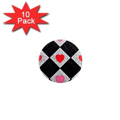 Diamonds Hearts Mosaic Pattern 1  Mini Magnet (10 Pack)