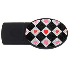 Diamonds Hearts Mosaic Pattern Usb Flash Drive Oval (2 Gb)