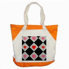 Diamonds Hearts Mosaic Pattern Accent Tote Bag