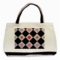 Diamonds Hearts Mosaic Pattern Basic Tote Bag (two Sides)