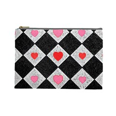 Diamonds Hearts Mosaic Pattern Cosmetic Bag (large) by Simbadda