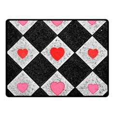 Diamonds Hearts Mosaic Pattern Fleece Blanket (small) by Simbadda