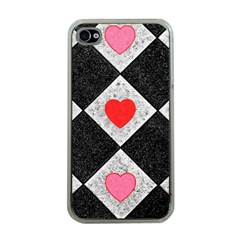 Diamonds Hearts Mosaic Pattern Apple Iphone 4 Case (clear)