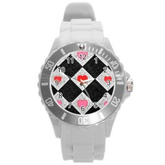 Diamonds Hearts Mosaic Pattern Round Plastic Sport Watch (l) by Simbadda