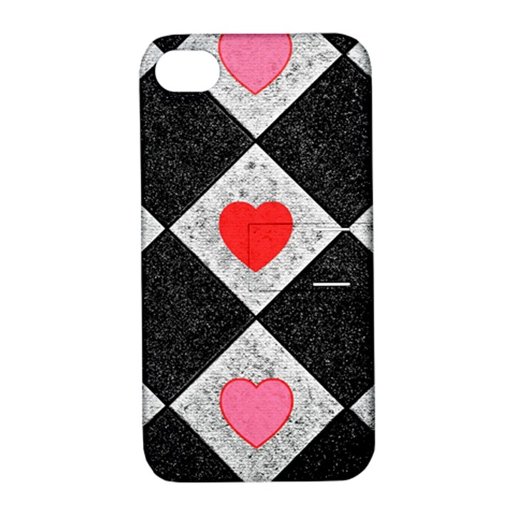 Diamonds Hearts Mosaic Pattern Apple iPhone 4/4S Hardshell Case with Stand