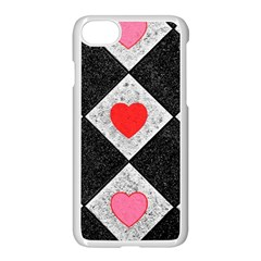 Diamonds Hearts Mosaic Pattern Apple Iphone 7 Seamless Case (white)