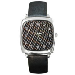 Rattan Wood Background Pattern Square Metal Watch