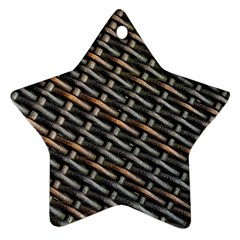Rattan Wood Background Pattern Star Ornament (two Sides)