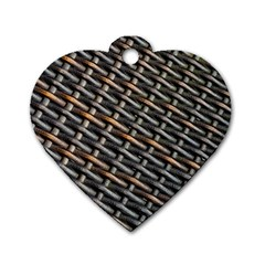 Rattan Wood Background Pattern Dog Tag Heart (two Sides)
