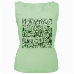 Black And White Background Wallpaper Pattern Women s Green Tank Top