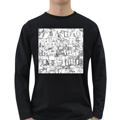 Black And White Background Wallpaper Pattern Long Sleeve Dark T Shirt