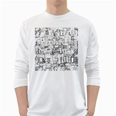 Black And White Background Wallpaper Pattern Long Sleeve T Shirt