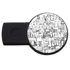 Black And White Background Wallpaper Pattern Usb Flash Drive Round (4 Gb)