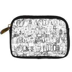Black And White Background Wallpaper Pattern Digital Camera Leather Case