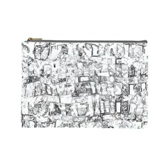 Black And White Background Wallpaper Pattern Cosmetic Bag (large)