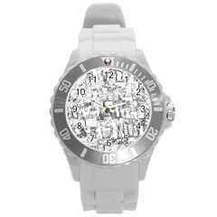 Black And White Background Wallpaper Pattern Round Plastic Sport Watch (l)