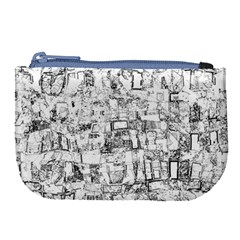 Black And White Background Wallpaper Pattern Large Coin Purse by Simbadda