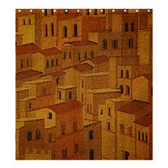 Roof Building Canvas Roofscape Shower Curtain 66  X 72  (large)
