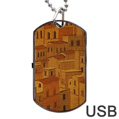 Roof Building Canvas Roofscape Dog Tag Usb Flash (two Sides) by Simbadda