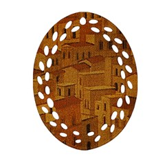 Roof Building Canvas Roofscape Ornament (oval Filigree)