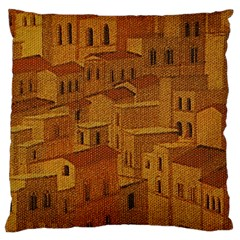 Roof Building Canvas Roofscape Large Cushion Case (two Sides) by Simbadda