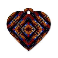 Kaleidoscope Art Pattern Ornament Dog Tag Heart (two Sides)