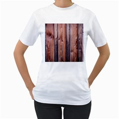 Wood Boards Wooden Wall Wall Boards Women s T Shirt (white)