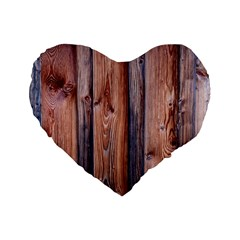 Wood Boards Wooden Wall Wall Boards Standard 16  Premium Flano Heart Shape Cushions