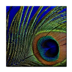 Peacock Feather Macro Peacock Bird Tile Coasters