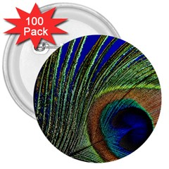 Peacock Feather Macro Peacock Bird 3  Buttons (100 Pack)  by Simbadda