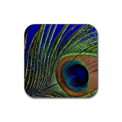 Peacock Feather Macro Peacock Bird Rubber Coaster (square)